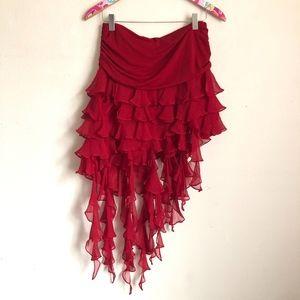 BCBG asymmetrical red fringe skirt size S // H34